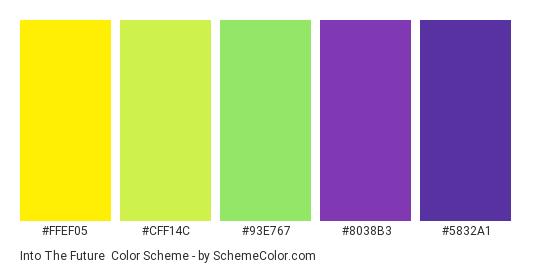 Into the Future - Color scheme palette thumbnail - #FFEF05 #CFF14C #93E767 #8038B3 #5832A1