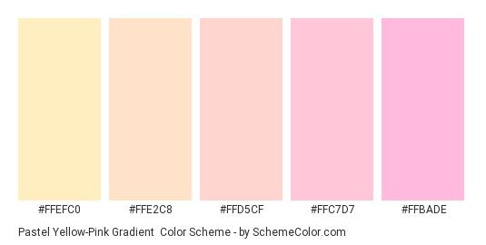 Pastel Yellow-Pink Gradient - Color scheme palette thumbnail - #FFEFC0 #FFE2C8 #FFD5CF #FFC7D7 #FFBADE