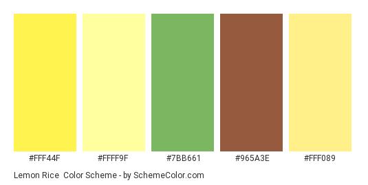 Lemon Rice - Color scheme palette thumbnail - #FFF44F #FFFF9F #7BB661 #965A3E #FFF089