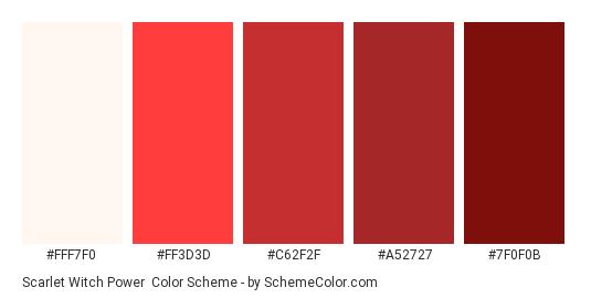 Scarlet Witch Power - Color scheme palette thumbnail - #FFF7F0 #FF3D3D #C62F2F #A52727 #7F0F0B