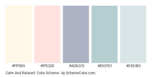 Calm and Relaxed - Color scheme palette thumbnail - #FFF8E6 #FFE2DE #ADB2C5 #b5cfd1 #d9e4e6