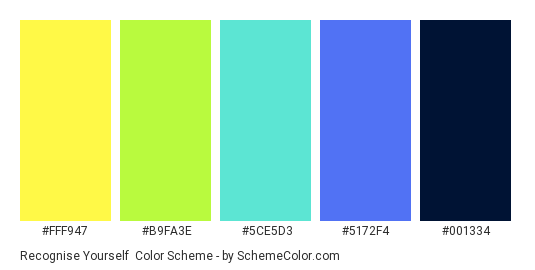 Recognise Yourself - Color scheme palette thumbnail - #FFF947 #B9FA3E #5CE5D3 #5172F4 #001334