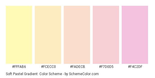 Soft Pastel Gradient - Color scheme palette thumbnail - #FFFAB6 #FCECC0 #FADECB #F7D0D5 #F4C2DF