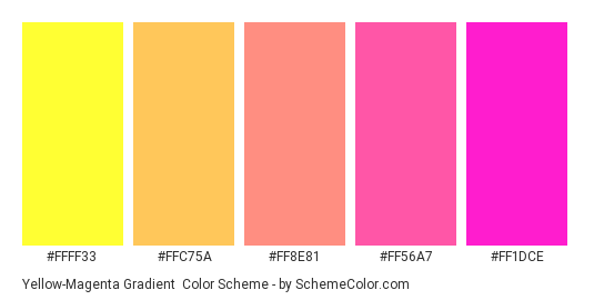 Yellow-Magenta Gradient - Color scheme palette thumbnail - #FFFF33 #FFC75A #FF8E81 #FF56A7 #FF1DCE