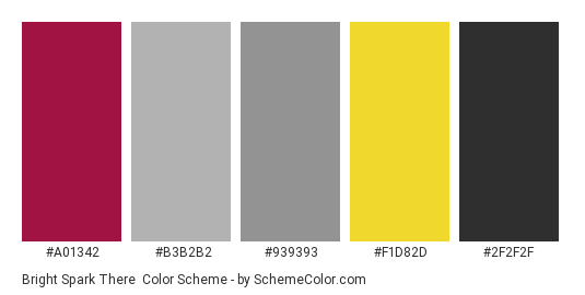 Bright Spark There - Color scheme palette thumbnail - #a01342 #b3b2b2 #939393 #f1d82d #2f2f2f