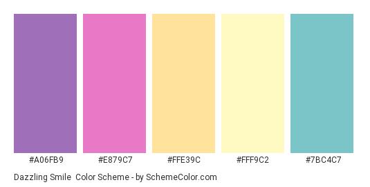 Dazzling Smile - Color scheme palette thumbnail - #a06fb9 #E879C7 #FFE39C #FFF9C2 #7BC4C7