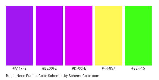 Bright Neon Purple - Color scheme palette thumbnail - #a117f2 #be00fe #df00fe #fff857 #3eff15