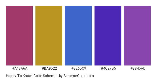 Happy to Know - Color scheme palette thumbnail - #a13a6a #ba9522 #3e65c9 #4c27b5 #8845ad