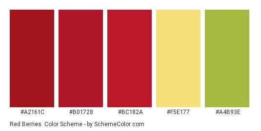 Red Berries - Color scheme palette thumbnail - #a2161c #b01728 #bc182a #F5E177 #A4B93E