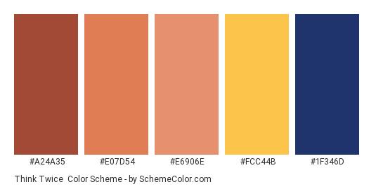 Think Twice - Color scheme palette thumbnail - #a24a35 #e07d54 #e6906e #fcc44b #1f346d