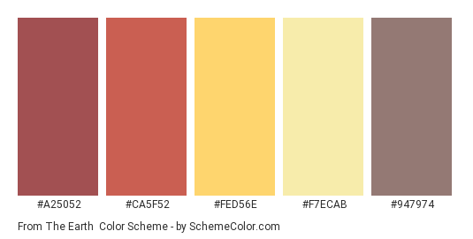 From the Earth - Color scheme palette thumbnail - #a25052 #ca5f52 #fed56e #f7ecab #947974