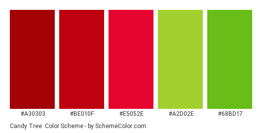 Candy Tree - Color scheme palette thumbnail - #a30303 #be010f #e5052e #a2d02e #68bd17