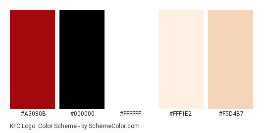KFC Logo - Color scheme palette thumbnail - #a3080b #000000 #ffffff #fff1e2 #f5d4b7