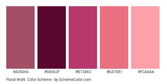 Floral Work - Color scheme palette thumbnail - #a35066 #5b062f #b7386c #ea7081 #fca0aa
