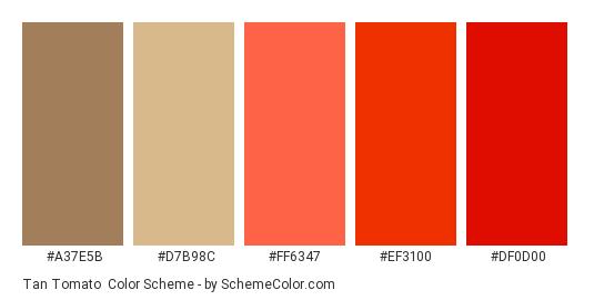 Tan Tomato Color Scheme Palette Thumbnail A37e5b D7b98c Ff6347 Ef3100