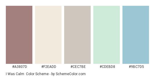 I Was Calm - Color scheme palette thumbnail - #a3807d #f2eadd #cec7be #cdebd8 #9bc7d5