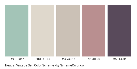 Neutral Vintage Set - Color scheme palette thumbnail - #a3c4b7 #dfd8cc #cbc1b6 #b98f90 #594a5b