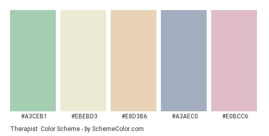 Therapist - Color scheme palette thumbnail - #a3ceb1 #ebebd3 #e8d3b6 #a3aec0 #e0bcc6