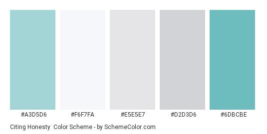 Citing Honesty - Color scheme palette thumbnail - #a3d5d6 #f6f7fa #e5e5e7 #d2d3d6 #6dbcbe
