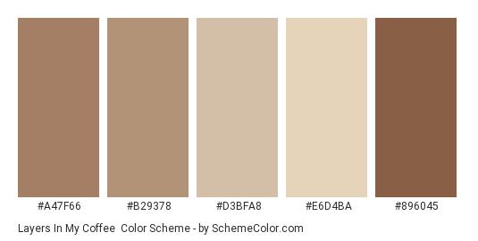 Layers in My Coffee - Color scheme palette thumbnail - #a47f66 #b29378 #d3bfa8 #e6d4ba #896045