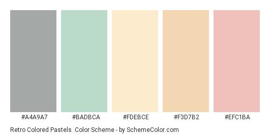 Retro Colored Pastels - Color scheme palette thumbnail - #a4a9a7 #badbca #fdebce #f3d7b2 #efc1ba