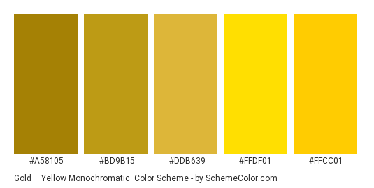 Gold - Yellow Monochromatic Color Scheme » Gold ...