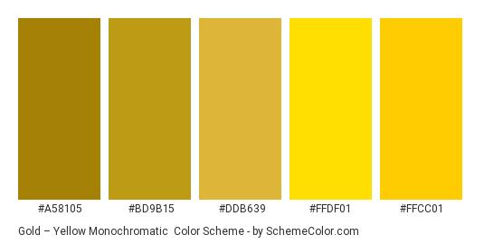 Gold – Yellow Monochromatic - Color scheme palette thumbnail - #a58105 #bd9b15 #ddb639 #ffdf01 #ffcc01
