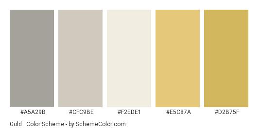 Gold & Grey Set - Color scheme palette thumbnail - #a5a29b #cfc9be #f2ede1 #e5c87a #d2b75f