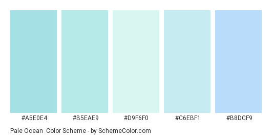 Pale Ocean - Color scheme palette thumbnail - #a5e0e4 #b5eae9 #d9f6f0 #c6ebf1 #b8dcf9