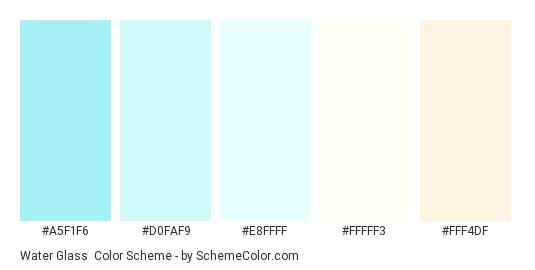 Water Glass - Color scheme palette thumbnail - #a5f1f6 #d0faf9 #e8ffff #fffff3 #fff4df