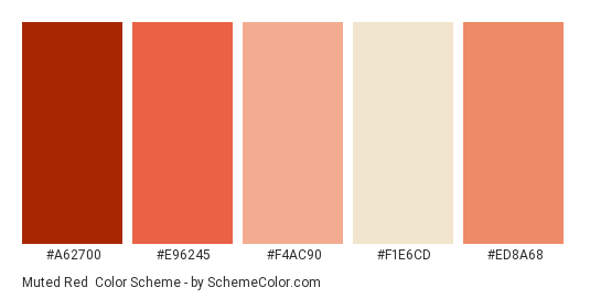 Muted Red Color Scheme Palette Thumbnail A62700 E96245 F4ac90 F1e6cd