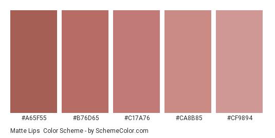 Matte Lips - Color scheme palette thumbnail - #a65f55 #b76d65 #c17a76 #ca8b85 #cf9894