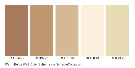 Warm Beige Wall Color Scheme Palette Thumbnail A67a5b C19770 D5b895