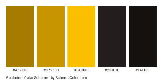 Goldmine - Color scheme palette thumbnail - #a67c00 #c79500 #fac000 #231e1d #14110e