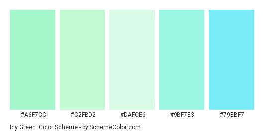 Icy Green - Color scheme palette thumbnail - #a6f7cc #c2fbd2 #dafce6 #9bf7e3 #79ebf7