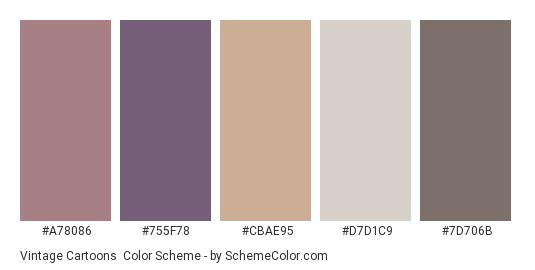 Vintage Cartoons - Color scheme palette thumbnail - #a78086 #755f78 #cbae95 #d7d1c9 #7d706b