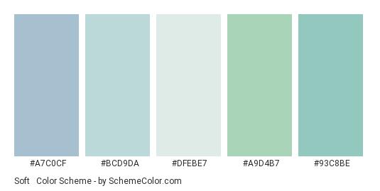 Soft & Gentle Rains - Color scheme palette thumbnail - #a7c0cf #bcd9da #dfebe7 #a9d4b7 #93c8be