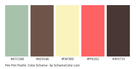 Peri Peri Pestle - Color scheme palette thumbnail - #a7c2ab #6e554a #faf3be #ff6262 #493733