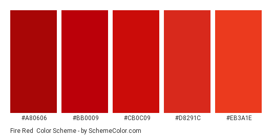 Fire Red - Color scheme palette thumbnail - #a80606 #bb0009 #cb0c09 #d8291c #eb3a1e