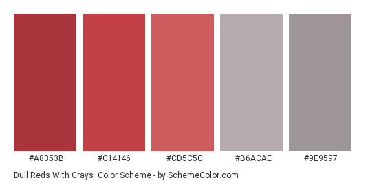 Dull Reds with Grays - Color scheme palette thumbnail - #a8353b #c14146 #cd5c5c #b6acae #9e9597