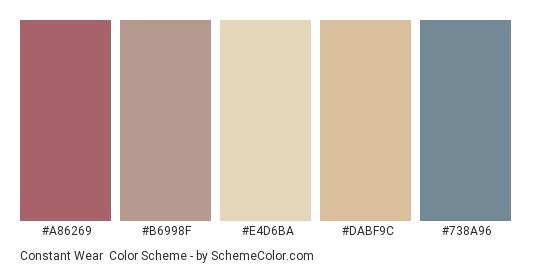 Constant Wear - Color scheme palette thumbnail - #a86269 #b6998f #e4d6ba #dabf9c #738a96