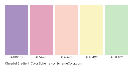 Cheerful Gradient - Color scheme palette thumbnail - #a890c3 #e5a4be #fad4c8 #f9f4c2 #c9e9c6