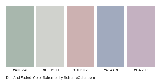 Dull and Faded - Color scheme palette thumbnail - #a8b7ad #d0d2cd #ccb1b1 #a1aabe #c4b1c1
