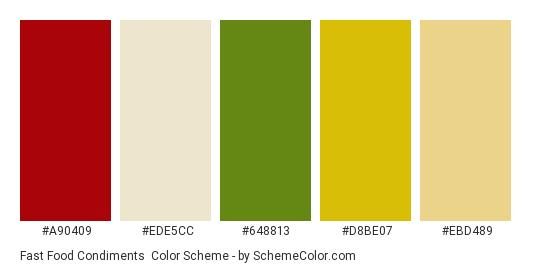 Fast Food Condiments - Color scheme palette thumbnail - #a90409 #ede5cc #648813 #d8be07 #ebd489