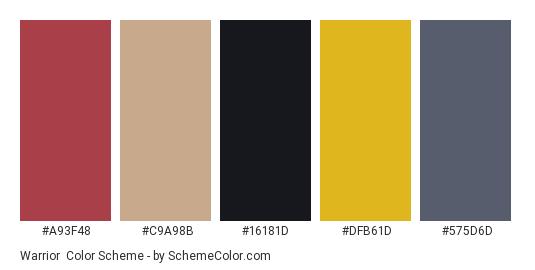 Warrior - Color scheme palette thumbnail - #a93f48 #c9a98b #16181d #dfb61d #575d6d