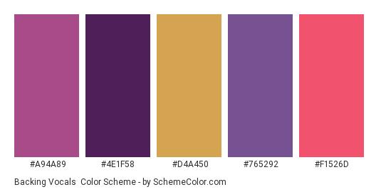 Backing Vocals - Color scheme palette thumbnail - #a94a89 #4e1f58 #d4a450 #765292 #f1526d