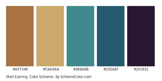 Start Earning - Color scheme palette thumbnail - #a97340 #caa96a #408a8b #255a6f #291832