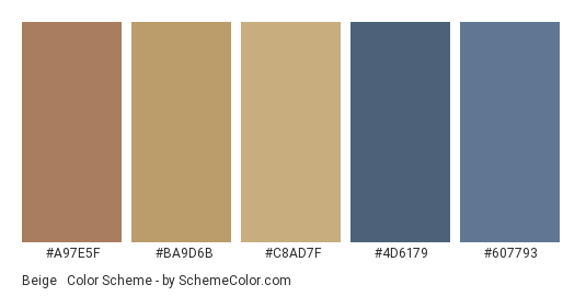 Beige & Blue for Fall - Color scheme palette thumbnail - #a97e5f #ba9d6b #c8ad7f #4d6179 #607793