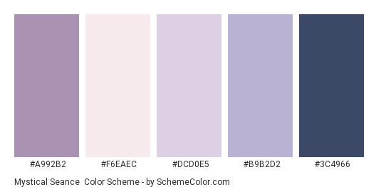 Mystical Seance - Color scheme palette thumbnail - #a992b2 #f6eaec #dcd0e5 #b9b2d2 #3c4966
