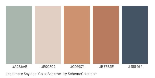 Legitimate Sayings - Color scheme palette thumbnail - #a9b6ae #e0cfc2 #cd9371 #b87b5f #455464